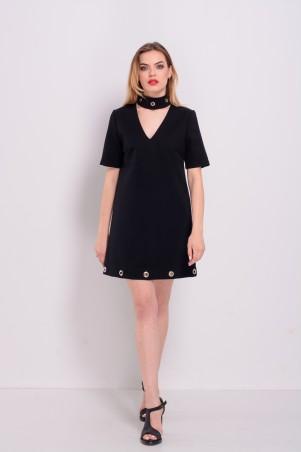 Lilo: Короткое черное платье с чокером и люверсами 8162 - главное фото