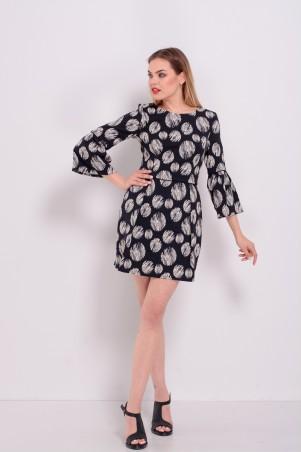 Lilo: Короткое платье тюльпан в черно-белые горохи 8190 - главное фото