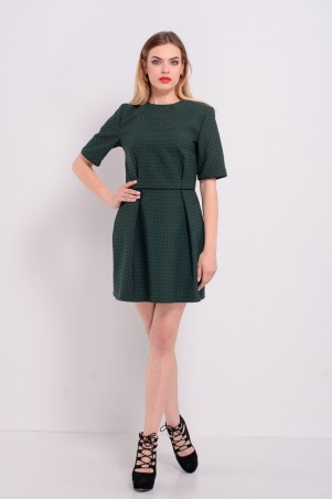 Lilo: Зеленое короткое жаккардовое платье тюльпан Lilo 8189 - главное фото