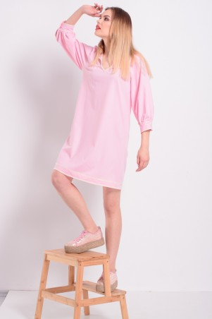 Lilo: Розовое прямое короткое платье с кружевом Lilo 8204 - главное фото