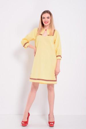 Lilo: Желтое льняное прямое платье с орнаментом 8048 - главное фото