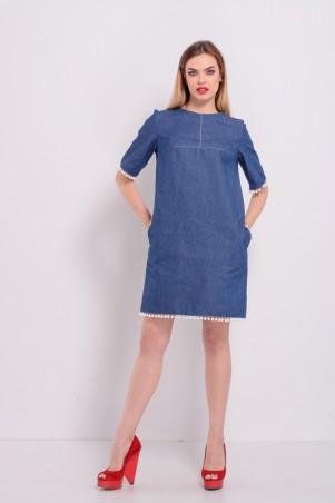 Lilo: Джинсовое платье с белыми помпонами 8207 - главное фото