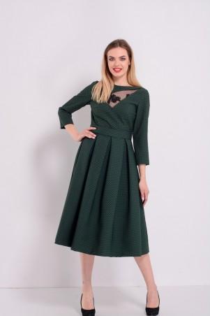 Lilo. Зеленое жаккардовое платье с французским кружевом Lilo. Артикул: 8145