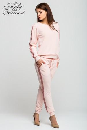 Simply brilliant: Трикотажный пудровый костюм свитшот и штаны SB01S003 - главное фото