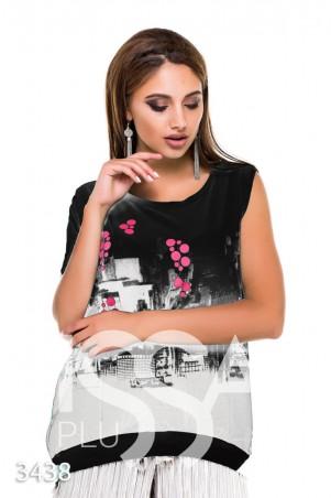 ISSA PLUS. Асимметричная черная футболка с принтом и одним рукавом. Артикул: 3438_черный