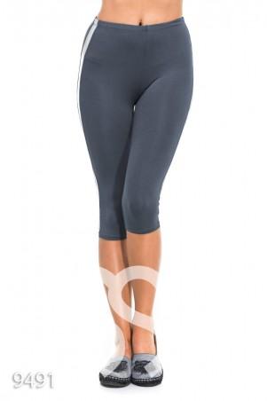 ISSA PLUS. Серые спортивные капри с серебряными полосами по бокам. Артикул: 9491_серый