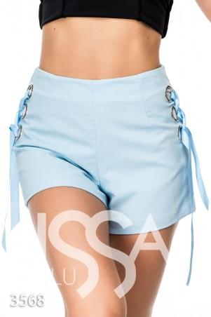 ISSA PLUS. Голубые шорты с высокой талией и шнуровками по бокам. Артикул: 3568_голубой