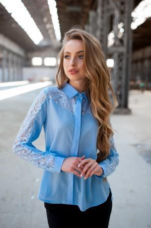 Fognar: Блуза голубая с кружевом 2091/2 - главное фото