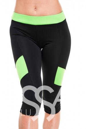 ISSA PLUS. Спортивные черные капри с салатовым поясом и вставками по бокам. Артикул: 8010_черный/салатовый