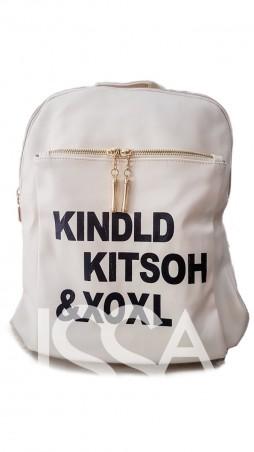 ISSA PLUS: Белый кожаный женский рюкзак с крупными контрастными буквами и золотыми молниями ALL-060_молочный - главное фото