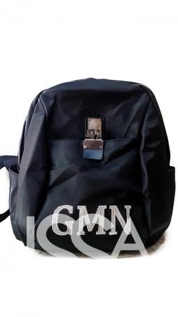 ISSA PLUS: Черный текстильный рюкзак с оригинальным замочком и белой крупной вышивкой ALL-1806_черный - главное фото