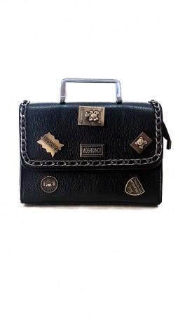 ISSA PLUS: Черная сумочка из фактурной кожи с фурнитурой и оригинальной металлической ручкой AMG-A803_черный - главное фото