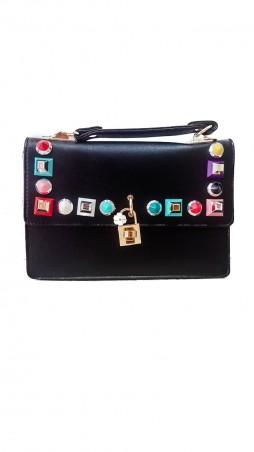 ISSA PLUS: Черная женская сумочка из эко-кожи с яркой фурнитурой и замочком AMG-A810_черный - главное фото