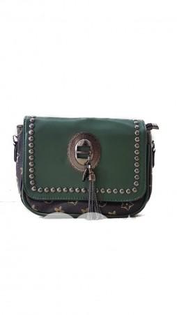 ISSA PLUS: Зеленый комбинированный клатч из эко-кожи с фурнитурой под черненое серебро AMG-A809_зеленый - главное фото