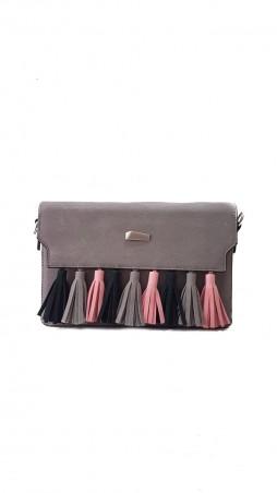 ISSA PLUS: Серая женская сумочка-клатч с цветными кистями  AMG-A7034_серый - главное фото
