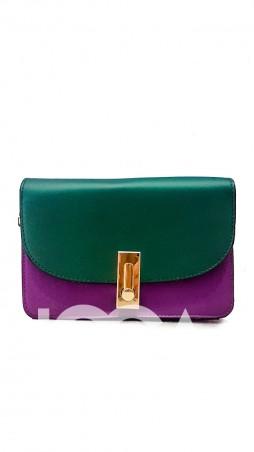 ISSA PLUS: Лаконичная сумочка зеленого и фиолетового цветов с золотой фурнитурой AMG-A604_фиолетовый/зеленый - главное фото