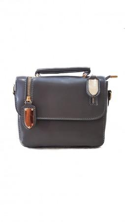 ISSA PLUS: Серая лаконичная сумочка с декоративными молниями AMG-A7025_серый - главное фото
