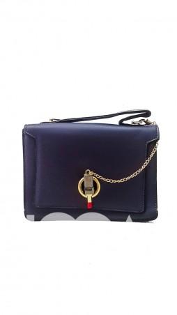 """ISSA PLUS: Синяя сумочка из эко-кожи с оригинальной застежкой-""""помадой"""" AMG-A608_синий - главное фото"""