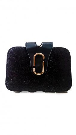 ISSA PLUS: Компактная сумочка из эко-кожи с покрытием из черных блесток AMG-A824_черный - главное фото