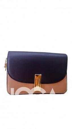 ISSA PLUS: Лаконичная сумочка синего и бежевого цветов с золотой фурнитурой AMG-A604_синий/бежевый - главное фото