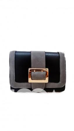 ISSA PLUS: Комбинированная сумочка из черной кожи и серой замши с золотой фурнитурой AMG-7016_черный/серый - главное фото