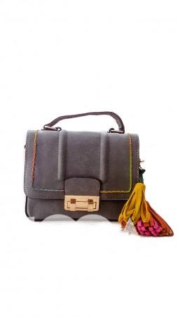 ISSA PLUS: Серая замшевая сумочка с цветным декоративным швом и кисточками AMG-7018_серый - главное фото