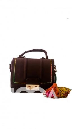 ISSA PLUS: Коричневая замшевая сумочка с цветным декоративным швом и кисточками AMG-7018_коричневый - главное фото