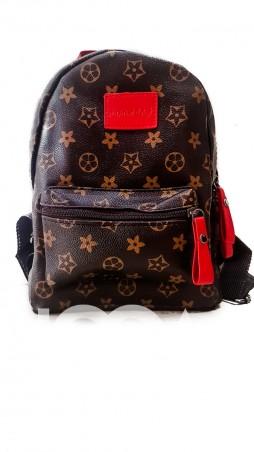 ISSA PLUS: Коричневый рюкзак со светлым рисунком и красными деталями ALL-101_коричневый - главное фото