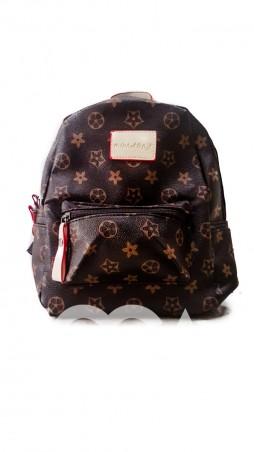 ISSA PLUS. Небольшой коричневый рюкзачок со светлым рисунком. Артикул: ALL-102_коричневый