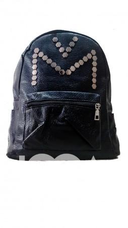 ISSA PLUS: Черный рюкзак из фактурной эко-кожи с фурнитурой-сотами ALL-104_черный - главное фото