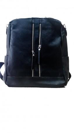 ISSA PLUS: Черный квадратный рюкзачок с декоративными молниями ALL-1810_черный - главное фото