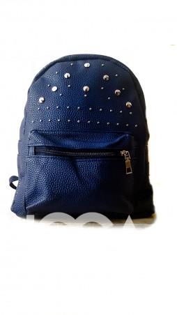 ISSA PLUS. Темно-синий рюкзак из фактурной кожи с фурнитурой. Артикул: ALL-1017_синий