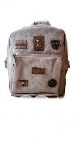 ISSA PLUS: Серая сумка-трансформер с металлической фурнитурой под бронзу ALL-086_серый - главное фото