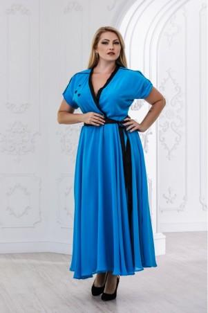 Juliana Vestido. Оригинальное длинное платье большого размера с декольте, контрастными вставками, пышной юбкой. Артикул: 2832