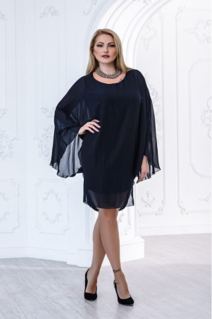 Juliana Vestido. Черное мини - платье большого размера с прозрачной накидкой. Артикул: 2833