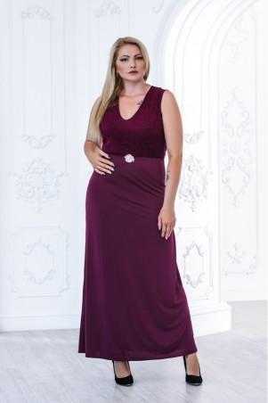 Juliana Vestido. Стильное платье в пол большого размера верх из гипюром, без рукав. Артикул: 2834