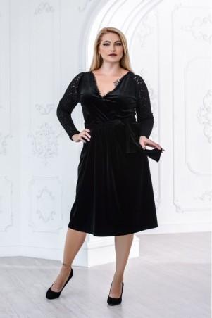 Juliana Vestido. Черное бархатное платье большого размера с гипюром. Артикул: 2835
