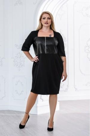 Juliana Vestido. Черное платье большого размера из джерси со змейкой, комбинированное эко кожей.. Артикул: 2836