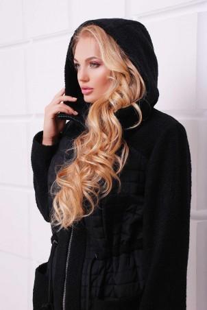 Tatiana. Легкое комбинированное пальто. Артикул: НОРА черное