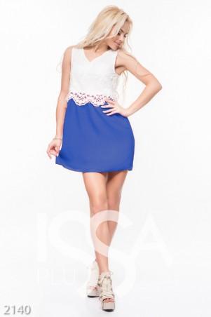 ISSA PLUS. Комбинированное платье с гипюровым верхом и синей юбкой-тюльпан. Артикул: 2140_электрик