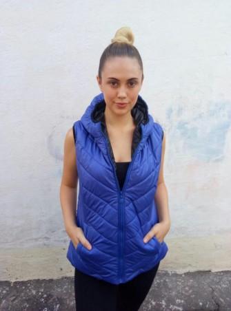 WearMe. Жилетка женская синяя с черными вставками большой размер 1w/23/70/29B*. Артикул: 3115