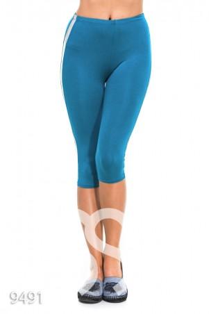 ISSA PLUS. Голубые спортивные капри с серебряными полосами по бокам. Артикул: 9491_голубой