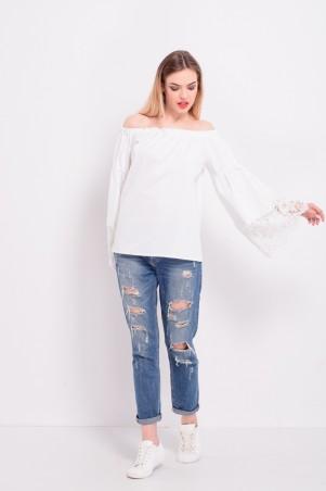 Lilo: Белая блузка крестьянка с кружевом 8209 - главное фото