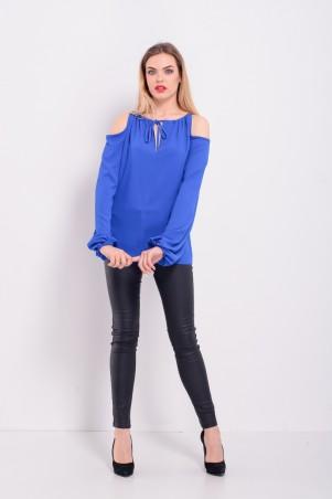 Lilo. Синяя блузка с открытыми плечами и длинным рукавом. Артикул: 2304
