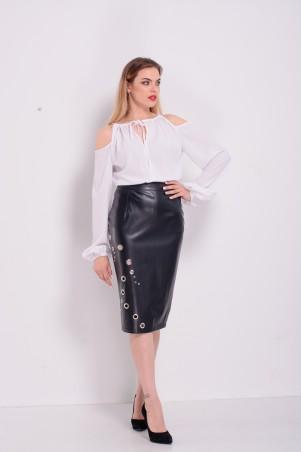 Lilo. Белая блузка с открытыми плечами и длинным рукавом. Артикул: 2300