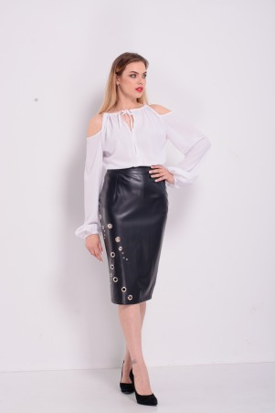 Lilo: Белая блузка с открытыми плечами и длинным рукавом 2300 - главное фото