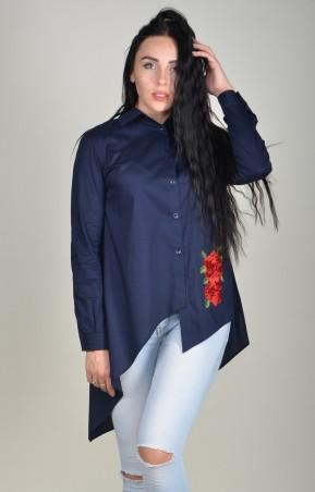 Zanna Brend. Женская синяя ассиметричная блуза с цветком. Артикул: 694А