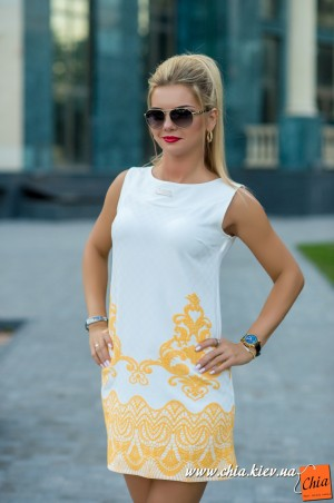 Bisou. Платье бело-желтое. Артикул: 7575