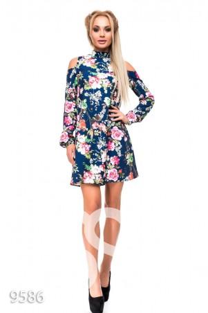 ISSA PLUS. Синее платье в цветочный принт с открытыми плечами и высоким воротничком. Артикул: 9586_синий