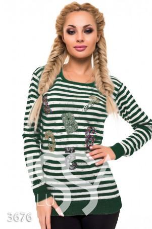ISSA PLUS. Зеленый свитерок в белую полоску с аппликациями-буквами. Артикул: 3676_зеленый